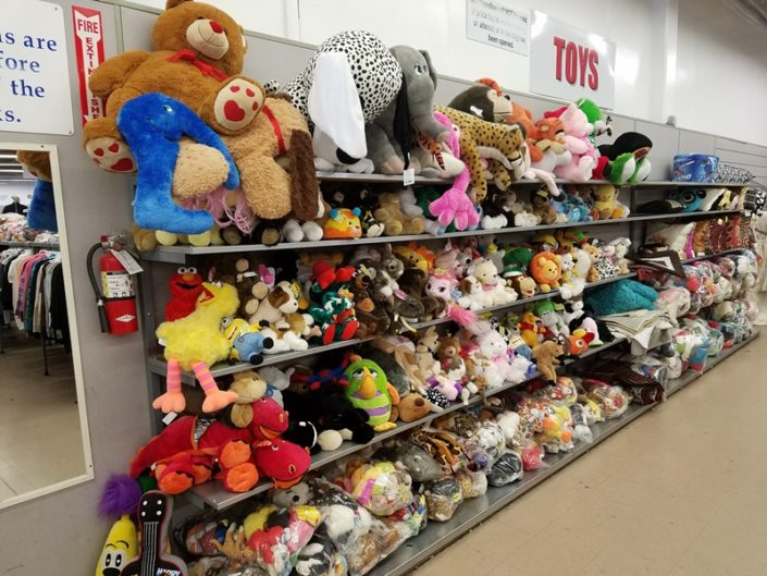 toys, stuffed animals, dolls at thrift store in azusa