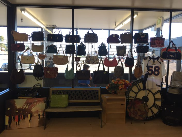 purses for sale at thrift store in denver