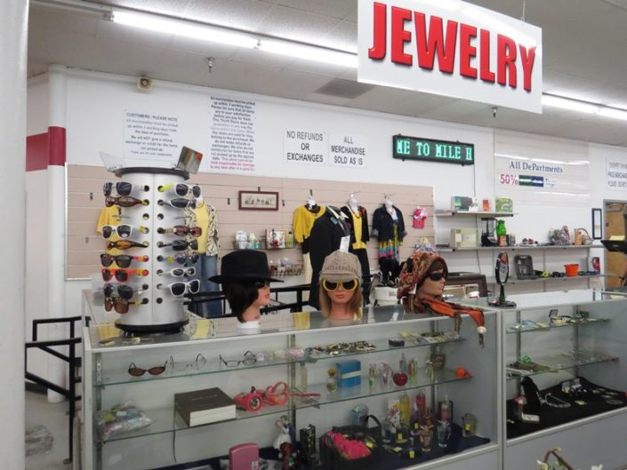 sunglasses, hats and jewelry at denver thrift store