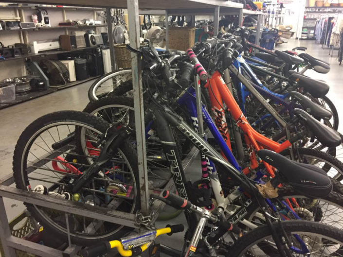 bicycles at thrift store in covina