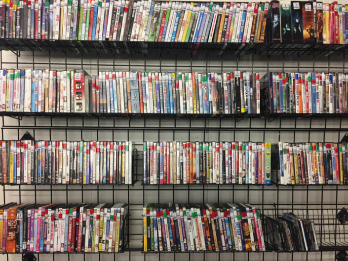 books and dvds at thrift store in covina