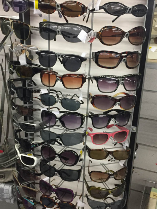 stylish sunglasses at thrift store in covina