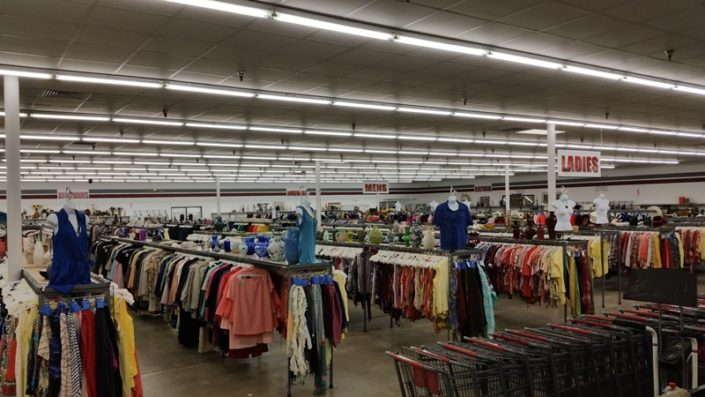 clothing on racks at jacksonville thrift store