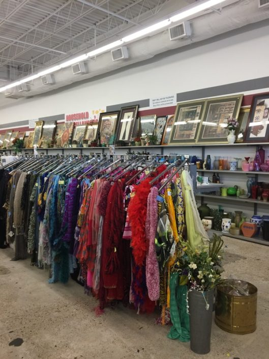 scarves for sale at new orleans thrift store