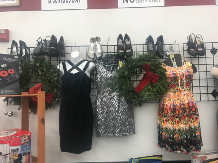 thrift store metro detroit dresses and shoes displayed