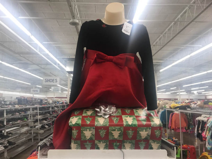 thrift store metro detroit holiday apparel on display
